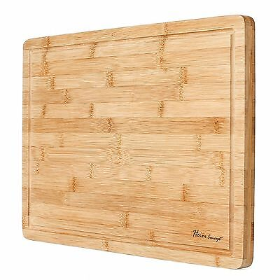 HEIM's XL Cutting Board Large Groove Kitchen ORGANIC Bamboo Wood Chopping Boards ()