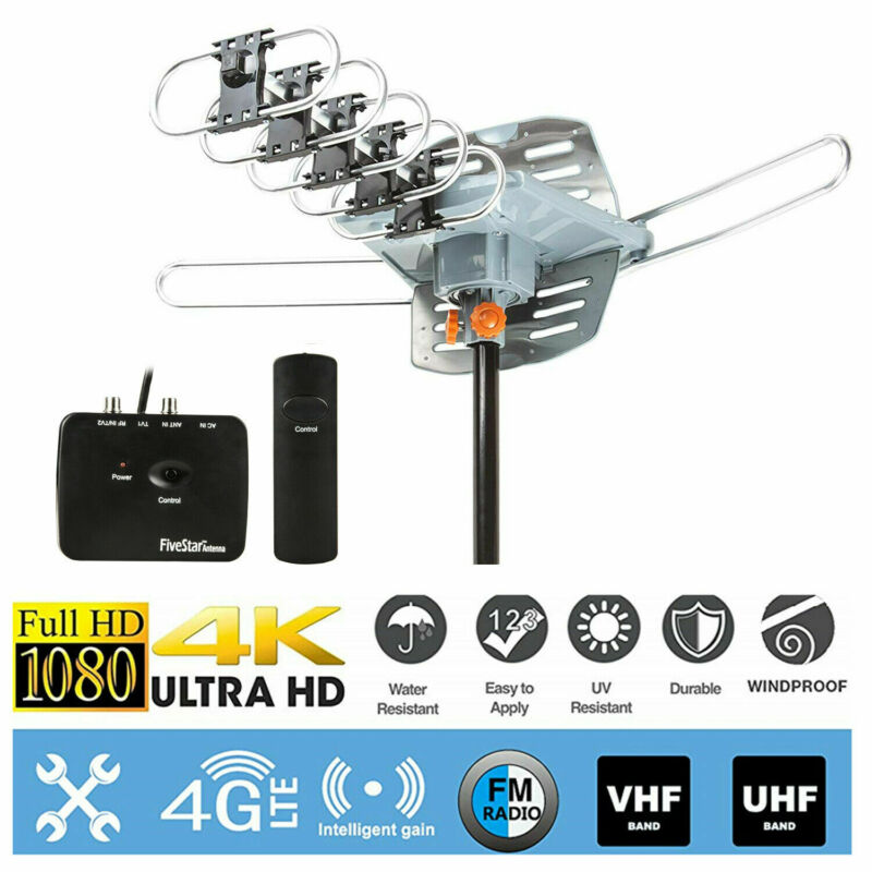 150 Miles Outdoor TV Antenna Motorized Amplified HDTV High Gain 36dB UHF VHF