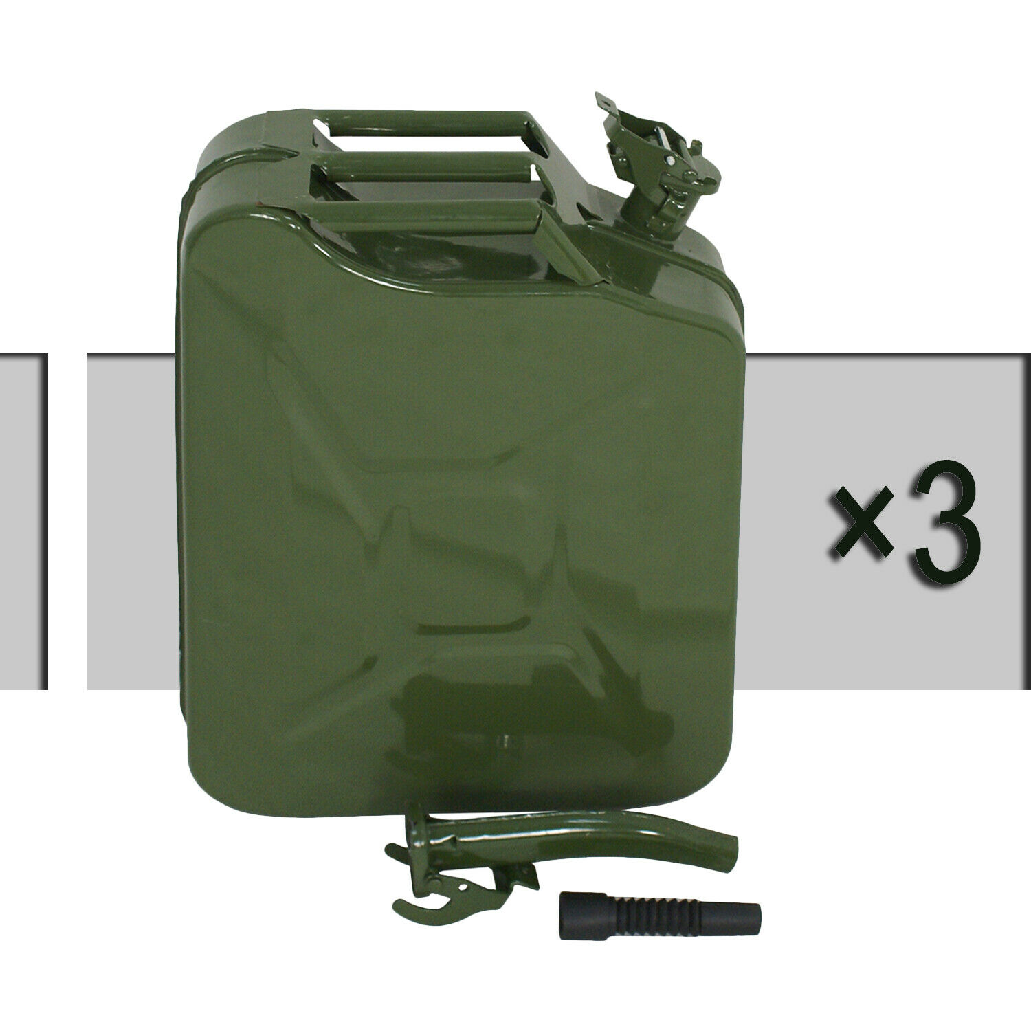 3pcs 20L Green Jerry Can 5 Gallon Gas Fuel Steel Tank Emergency Backup Army Business & Industrial