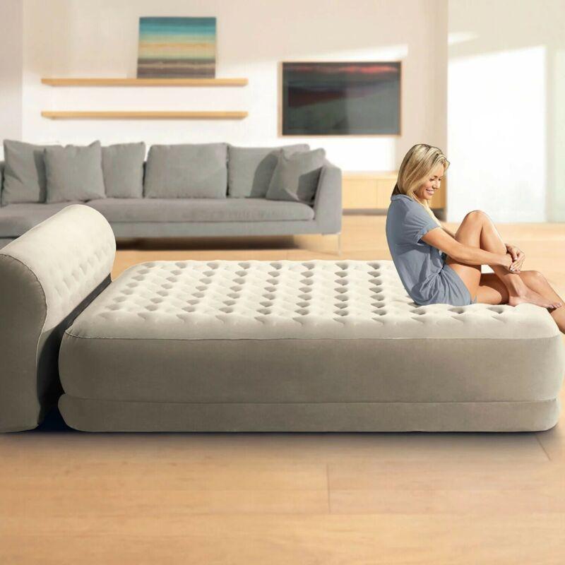 Intex Dura Beam Deluxe Series Bed Air Mattress w/ Built in Pump Headboard Queen