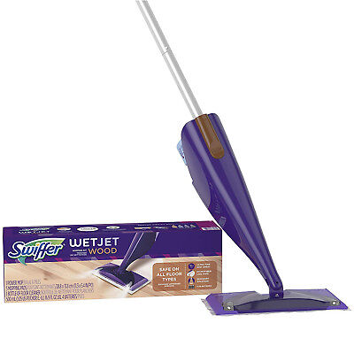 Swiffer Wetjet Wood Floor - Swiffer Wetjet Wood Floor Spray Mop Starter Kit Cleaning Cloths Set Lights New