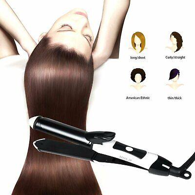 2 In 1 Ceramic Curling Iron/Straightener 1 Inch, Travel Tourmaline Hair Straight ()