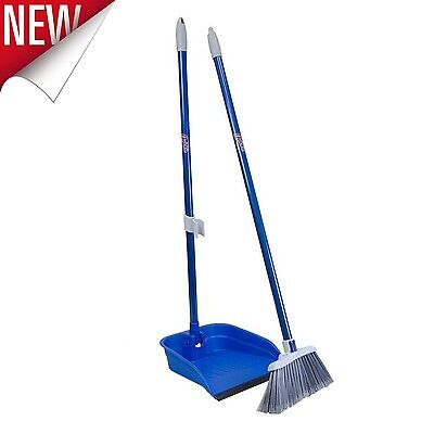 """Broom Dustpan Set 35.5"""" Stand And Store Floor Cleaning Home Kitchen Lobby Broom"""