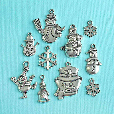Snowman Charm Collection Antique Silver Tone 10 Charms - - Snowman Collection