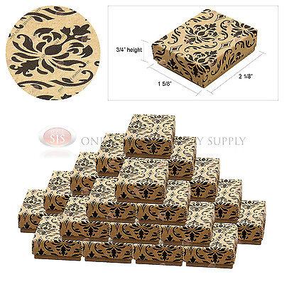 25 Kraft Damask Print Gift Jewelry Cotton Filled Boxes 2 18 X 1 58 X 34