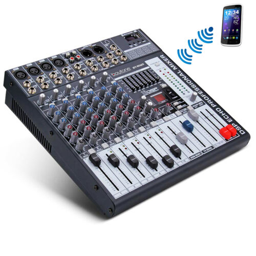 BOYTONE 8 Channel BLUETOOTH Professional Live Studio Audio Mixer USB, 7 BAND EQ