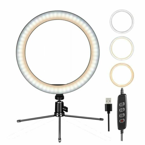 "10"" Dimmable LED Ring Light w/Mount Stand Selfie Kit for Phone Video Live Stream"