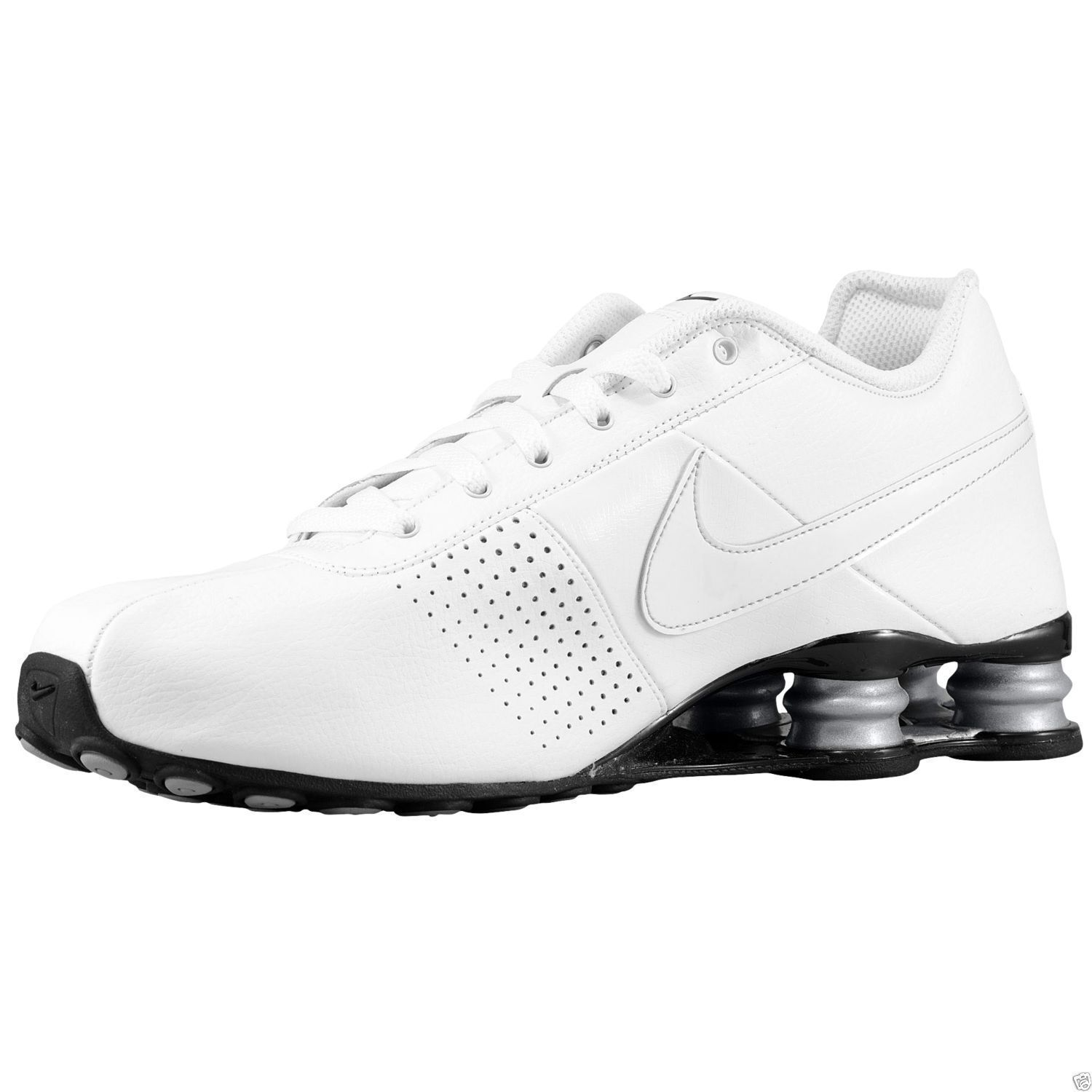 ... shopping nike shox deliver mens size 10 running shoes white metallic  silver 317547 109 ebay 19e43 ... f2dbe5cc1