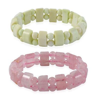 Rose Quartz Chrysoprase Set of 2 Stretch Bracelet Jewelry for Women Ct 274.5