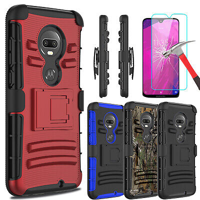 For T-Mobile Revvlry+ Plus Case With Kickstand Belt Clip+Glass Screen (Glasses Case With Belt Clip)