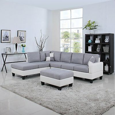 Classic Two Tone Large Fabric Bonded Leather Living Room Sectional Light Grey/WH