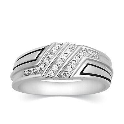 Real Diamond Fashion Pinky Ring Mens Wedding Band 10k White Gold 0.25 Ct