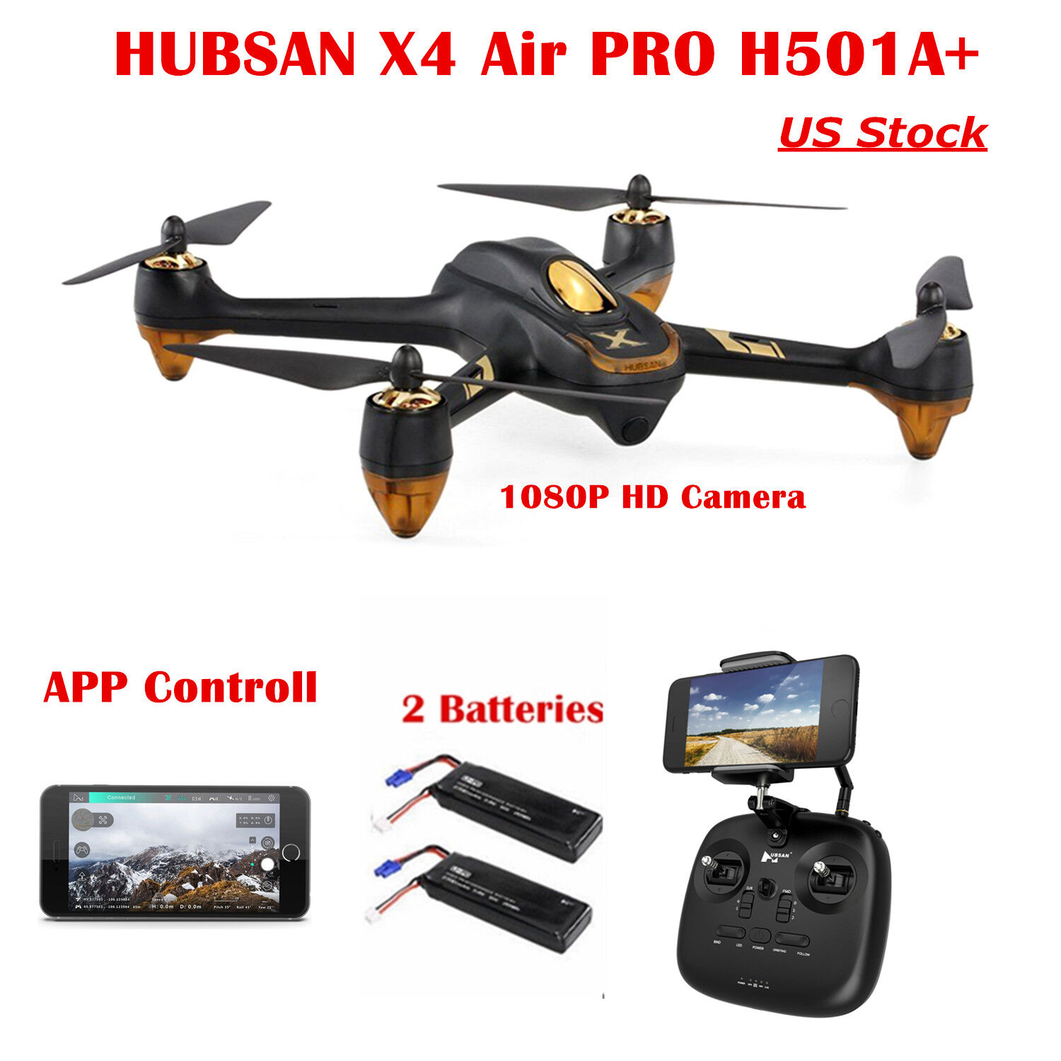 Hubsan X4 H501A Brushless FPV RC Quadcopter APP 1080P CAM Follow Me GPS + Remote