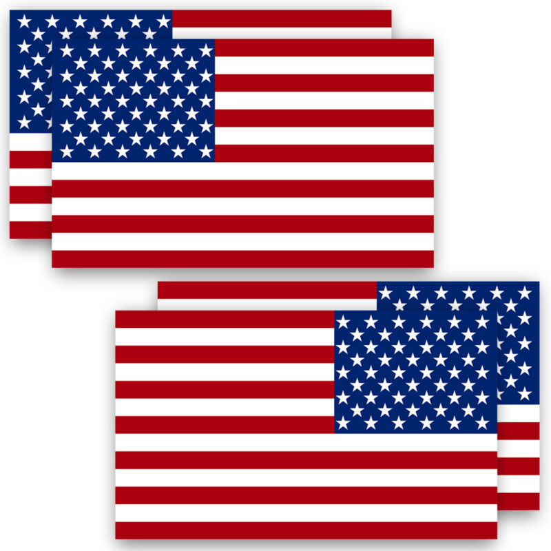 """Anley 5"""" X 3"""" American US Flag Decal Reflective Stripe USA Flag Car Stickers 4pc"""