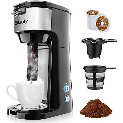 Single Serve Coffee Maker Brewer K-Cup Pod &Ground Coffee Self-Cleaning by Sboly