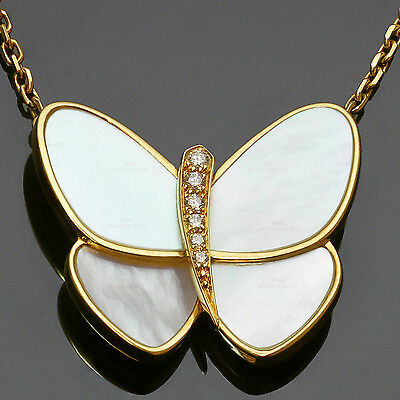 Authentic  VAN CLEEF & ARPELS Flying Beauties Diamond Gold Butterfly Pendant