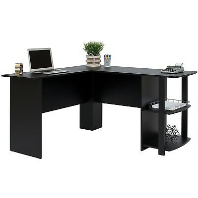 Best Choice Products L-Shaped Corner Computer Office Desk Furniture- Black