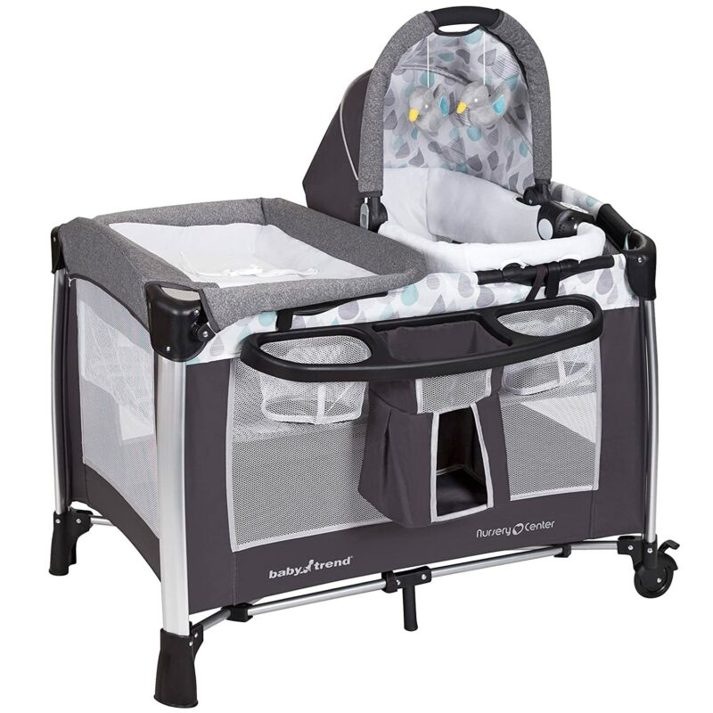 Baby Trend GoLite ELX Portable Deluxe Infant Play Nursery Center, Drip Drop Blue
