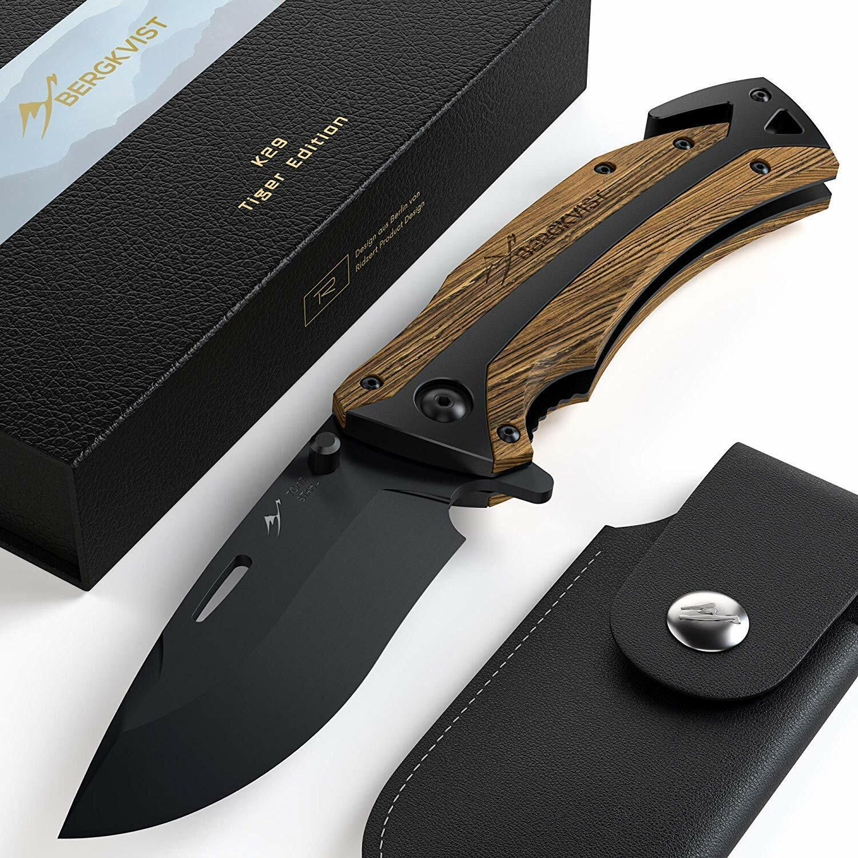 BERGKVIST K29 Tiger Einhandmesser Taschenmesser Outdoor Klappmesser Schleifstein