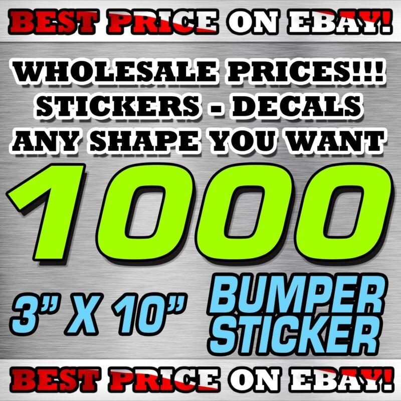 "1000 CUSTOM STICKERS 3"" X 10"" BUMPER STICKER / DECAL / ELECTION POLITICAL LABEL"