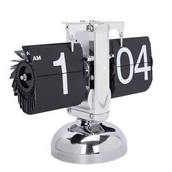 Retro Flip Down Clock Stainless Steel Home Decor Quartz Movement Black Silver