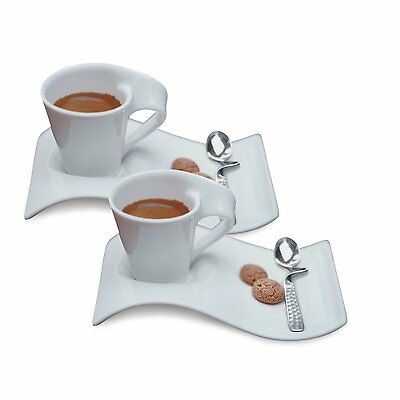 Villeroy & Boch Set of 2 New Wave Caffe Espresso Cups and Sa