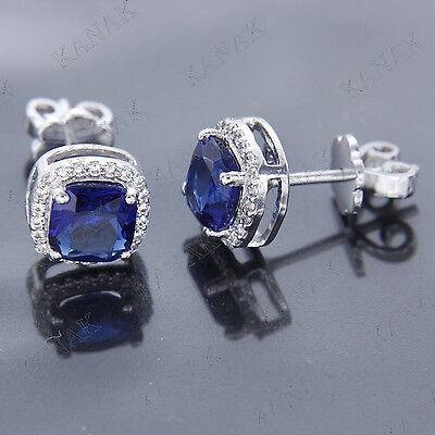 6mm Cushion Cut Sapphire & Diamond Halo Stud Earrings Solid 14k White Gold