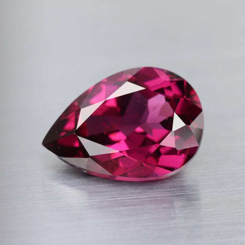 4.20Ct Exquisite Fuschia Pink Rare Natural Rhodolite Garnet Africa Pear Gemstone