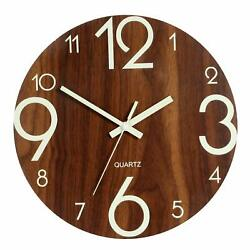 Luminous Wall Clock 12 Wooden Silent Non Ticking Kitchen Clocks W Night BROWN
