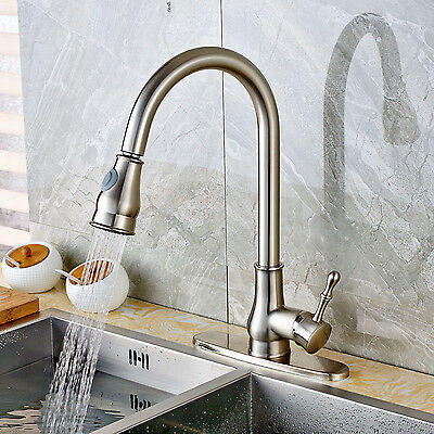 Brushed Nickel Kitchen Faucet Connections Out Sprayer Swivel Spout Sink Mixer Tap