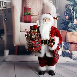 48cm traditional standing father christmas santa claus figure xmas decoration uk