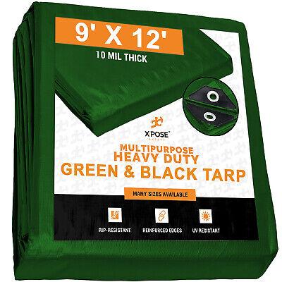9 X 12 Heavy Duty Green Black Poly Tarp 10 Mil Thick Cover Tent Rv Tarp