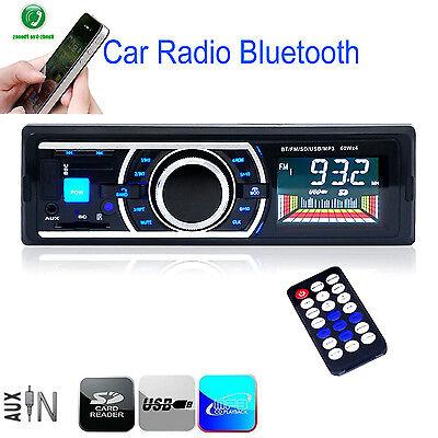 Bluetooth Car Stereo Audio 1 DIN In-Dash Player MP3 USB SD AUX FM Radio Non CD