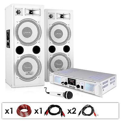 2 Paar PA Lautsprecher mit Verstärker, Mikrofon und Kabelset für Karaoke Partys