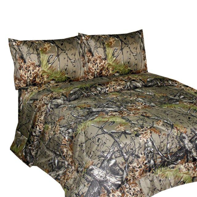 king size natural color bedding sheet set premium microfiber camo 4 piece woods ebay. Black Bedroom Furniture Sets. Home Design Ideas
