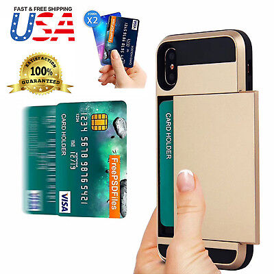 Wallet Case Cover (Shockproof Wallet Credit Card Holder Case Cover Fits Apple iPhone)