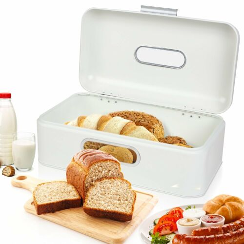 Weiß Brotkasten mit Sichtfenster Metall Brotbox Brotdose + Luftzirkulation L42cm