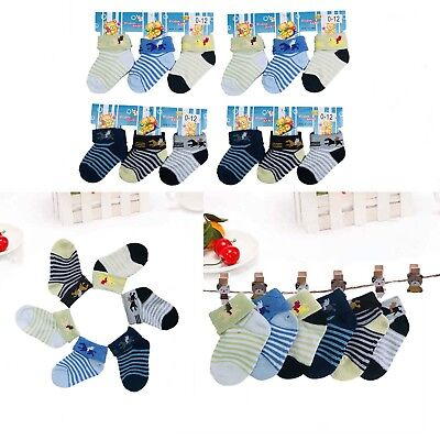 Lot 6 12 Pairs Multi Color Striped Baby Boy NewBorn Baby Soft Socks 0-12 Month - Newborn Baby Socks