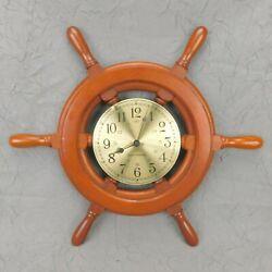 Vintage Seth Thomas Capstan Wall Clock Wood Ships Wheel Quartz Clean Working USA