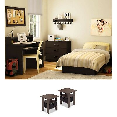 Twin Size Bedroom Set Modern Design 2 Nightstand End Tables Brown Chocolate NEW