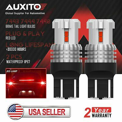 2pcs AUXITO 7443 7444 Red LED Turn Signal Blinker Brake Tail Stop Light