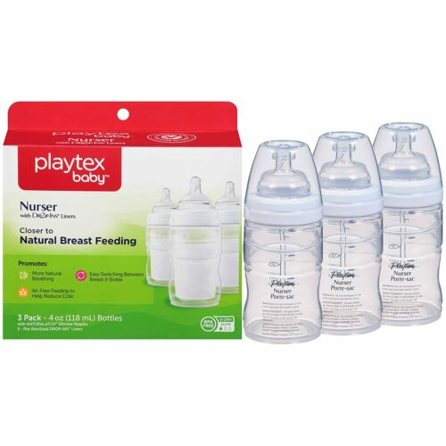 Playtex Baby Premium Nuser Bottles with 5 Drop In Liners, 4 oz, 3 Count