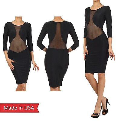 - Sexy Celebrity Fishnet Mesh Slim Fitted Bodycon Little Black Pencil Dress USA