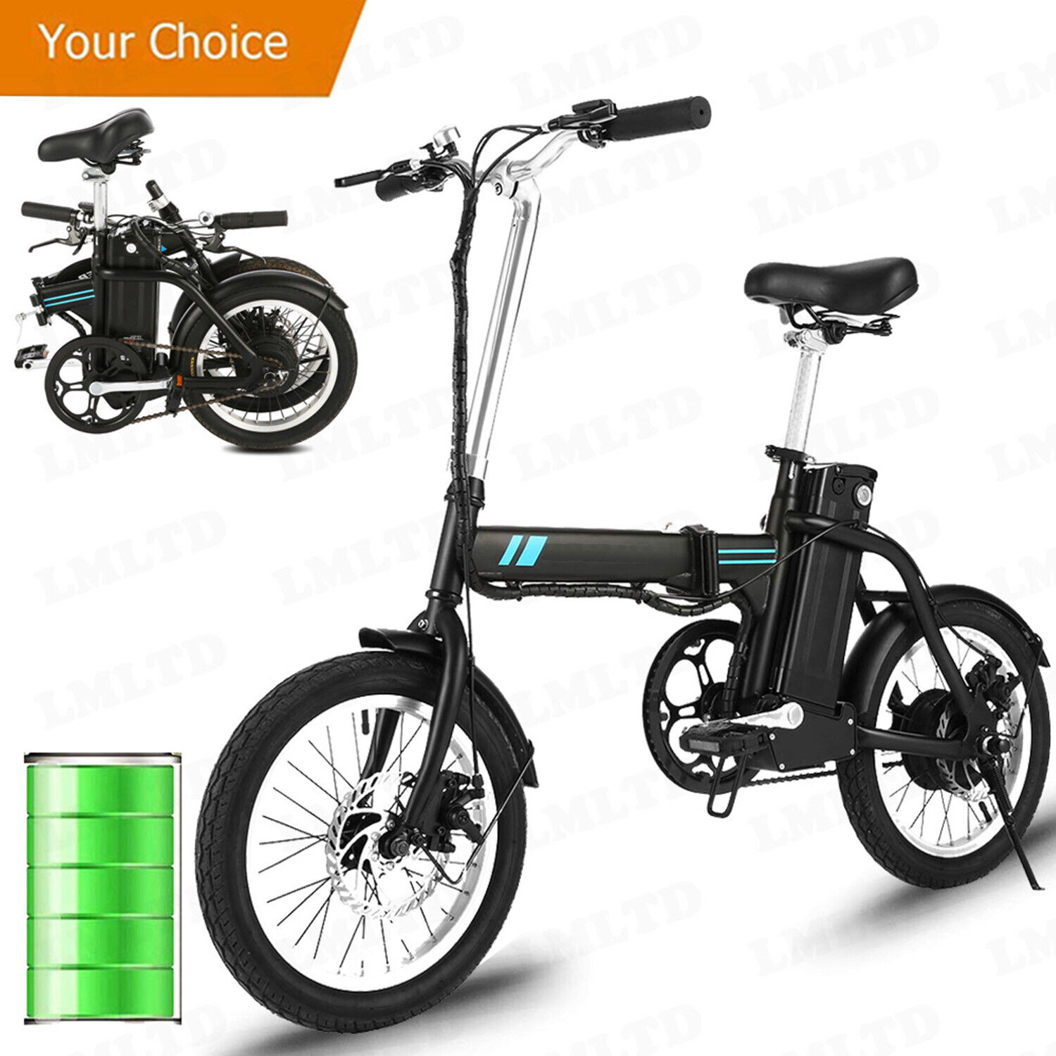 16inch electric bike commuter folding city bicycle
