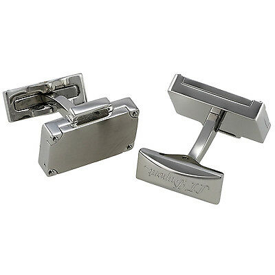 Brushed Stainless Steel Cufflinks (S.T. Dupont Valisette Briefcase Brushed Stainless Steel Cufflinks 005762, NIB )