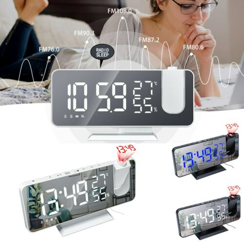 7.5″ LED Digital Projector Projection Snooze Dual Alarm Clock FM Radio Timer USB Alarm Clocks & Clock Radios