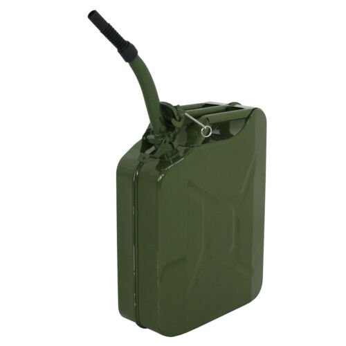 Two Green 5 Gallon 20L Jerry Can Fuel Steel Tank Military Style Storage Can Business & Industrial