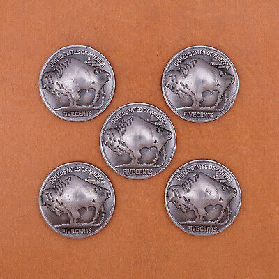 5pcs Western Indian Native American Bison Bull Buffalo Leathercraft Coin Concho ()
