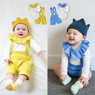 Vaenait baby Kids Boys Girls Suspender Pants+Bodysuit Outfit