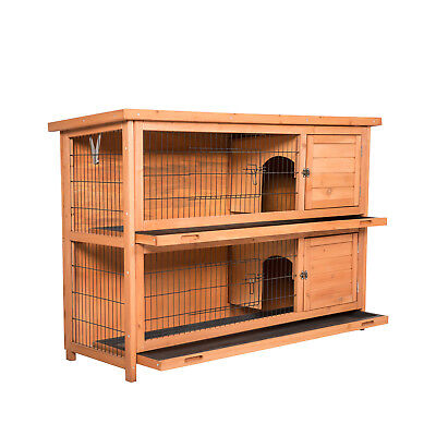 2-Tier Large Wooden Rabbit Hutch Bunny Guinea Pig Hen House Poultry Pet Cage New, used for sale  Azusa